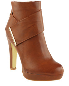 Miss Black Rana 2 Platform Ankle Boot Tan