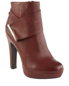 Miss Black Rana 2 Platform Ankle Boot Burgundy