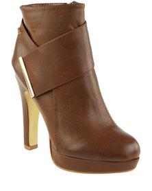 Miss Black Rana 2 Platform Ankle Boot Brown