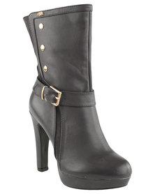Miss Black Sarah Platform Heeled Boot Grey