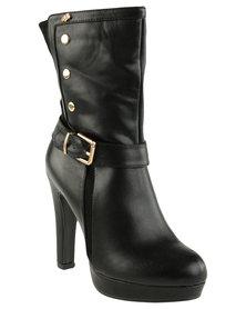 Miss Black Sarah Platform Heeled Boot Black