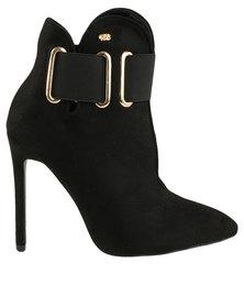Miss Black Beverley Pointy Heeled Ankle Boot Black