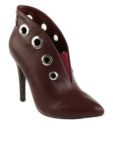 Miss Black Topaz Pointy Ankle Boot Burgundy