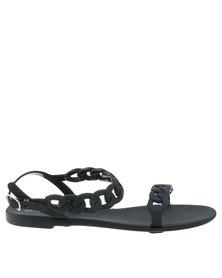 Miss Black Terra Sling Back Flat Slip On Sandal Black