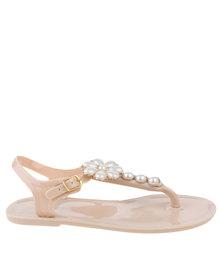 Miss Black Nyx Embellished Slingback Toe Thong Sandal Nude