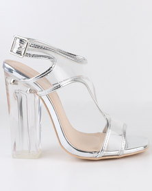 Miss Black Cacao High Heel T-Bar Sandals Silver