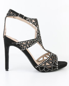 Miss Black Icon Embellished High Heel Sandal Black
