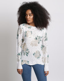 Miss Cassidy By Queenspark Desert Rose Knitwear Top White