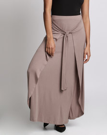 Miss Cassidy By Queenspark Double Layered Tie Belt Knit Skirt Taupe