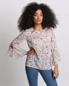 Miss Cassidy By Queenspark Flare Cuff Woven Top Pink