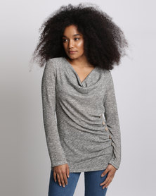 Miss Cassidy By Queenspark Marled Cut & Sew Knit Top Taupe