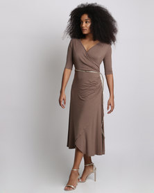 Miss Cassidy By Queenspark Rouched Waisted Belted Knit Dress Mocha