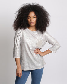 Miss Cassidy By Queenspark Sequin Pocket Knit Top Cream