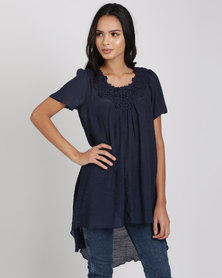 Miss Cassidy Citsy Ditsy Woven Top Navy