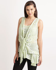 Miss Cassidy Embroidered Woven Tunic Top Green