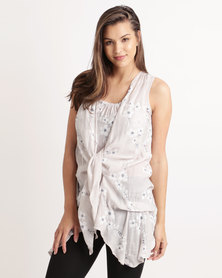 Miss Cassidy Embroidered Woven Tunic Top Cream