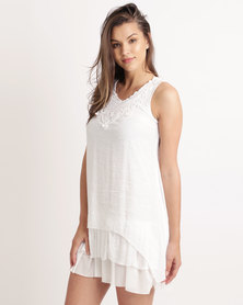 Miss Cassidy Lace Embellished Woven Top Cream