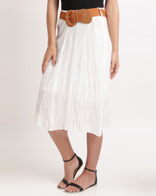 Miss Cassidy Woven Skirt With Belt Cream