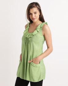 Miss Cassidy Pocket Detail Woven Dress Green