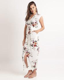 Miss Cassidy Floral Print Woven Dress Cream