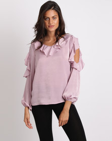 Miss Cassidy By Queenspark Fashion Ruffle Woven Blouse Purple