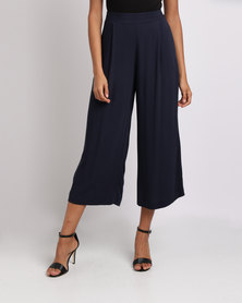 Miss Cassidy By Queenspark Woven Culottes Navy