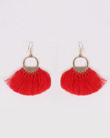 Miss Maxi Tassle Drop Earrings Red