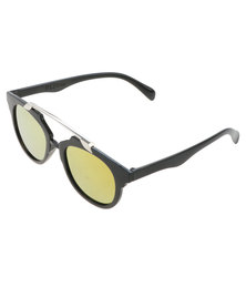 Miss Maxi Metal Bar Bridge Sunglasses Black/Gold