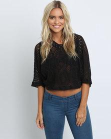 Mix Crochet Top Black