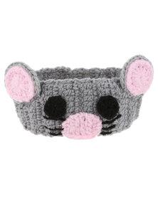 Monkeybum Crochet Mouse Headband Grey