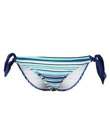 Moontide Poppy Stripe Wide Tie Bikini Bottoms Marine Blue