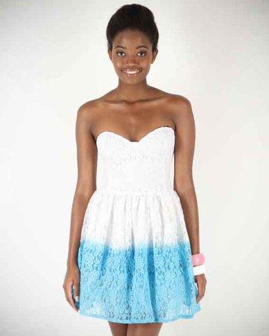 Motel Rocks Petra Dress White Dip Dye