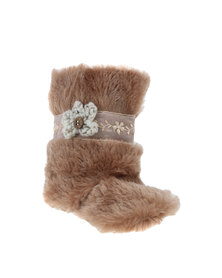 Myang Faun Fur With Lace Boot Brown