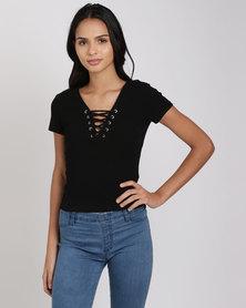 New Look Lattice Front Short Sleeve T-Shirt Black