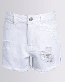 New Look Ripped Denim Shorts White
