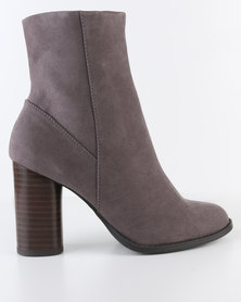 New Look Audrey Cylindrical High Ankle Boots Grey