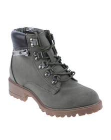 New Look 915 COPA Worker Boots Check LN Khaki