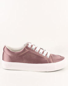 New Look Girls Mayes 2 Satin Lace Ups Pink