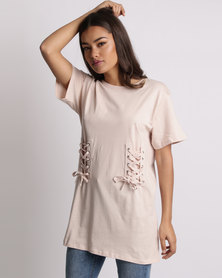 New Look Lace Up Corset Longline T-Shirt Nude