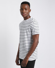 New Look Stripe Crew Neck T-Shirt White