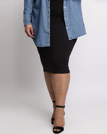 New Look Curves Pencil Skirt Black