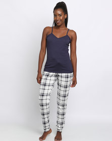 New Look Vest And Check Jogger Set Navy