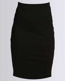 New Look Black Textured Pencil Skirt