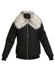 New Look Faux Fur Collar Bomber Jacket Black