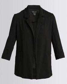 New Look Scuba Crepe Blazer Jumper Black
