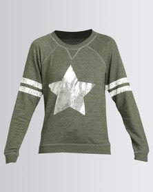 New Look Star Print Pyjama Sweater Olive