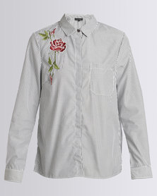 New Look Floral Embroidered Stripe Shirt Light Grey