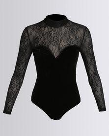 New Look Velvet Lace Panel Long Sleeve Bodysuit Black