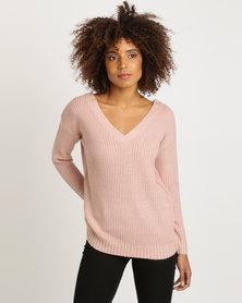 New Look Mid Cross Strap Back Jumper Pink