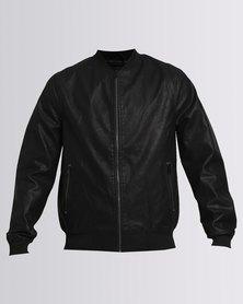 New Look PU Bomber Jacket Black